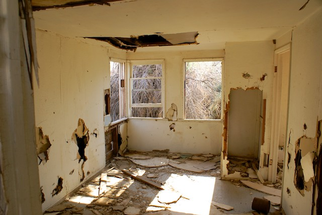 interior of broken down house