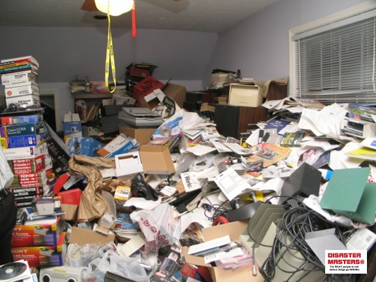 home office of hoarder